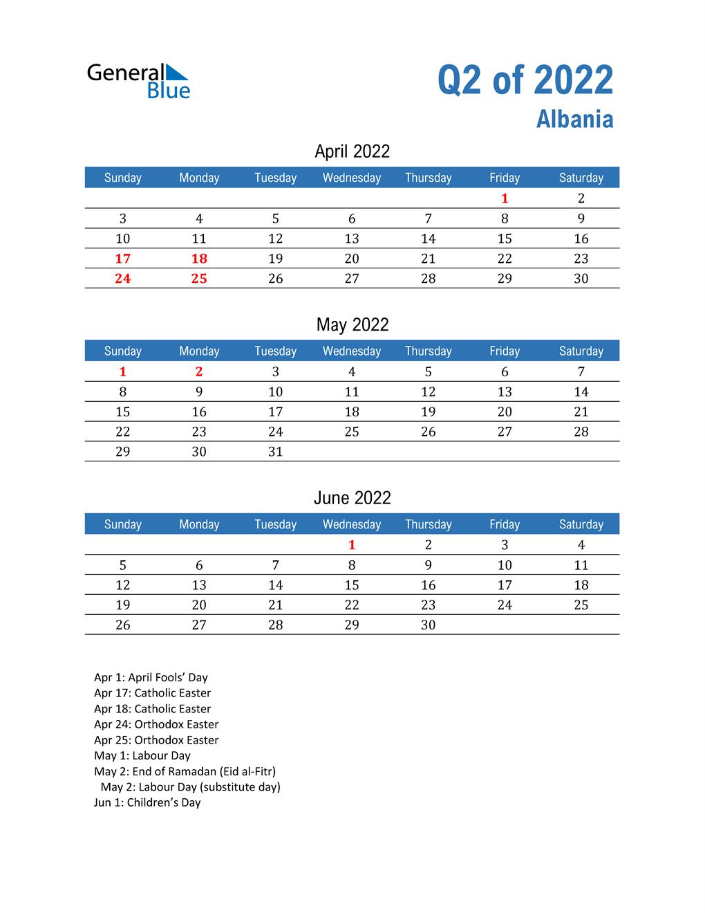 Albania 2022 Quarterly Calendar