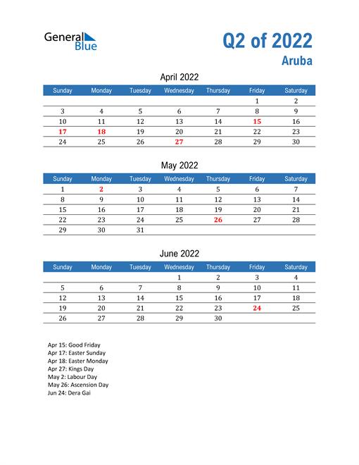 Aruba 2022 Quarterly Calendar