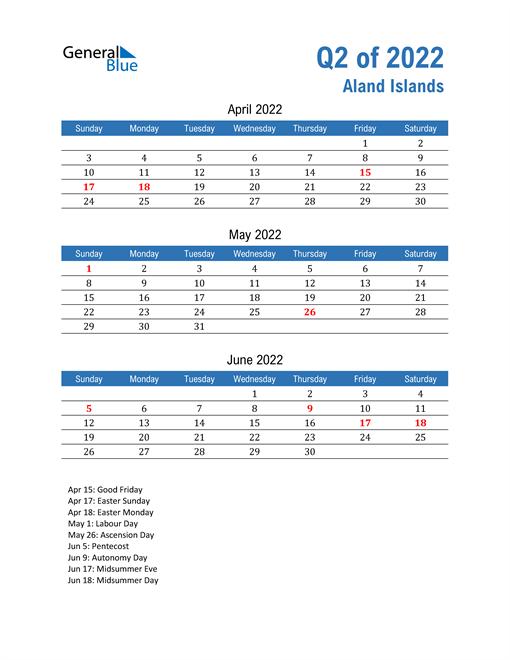 Aland Islands 2022 Quarterly Calendar