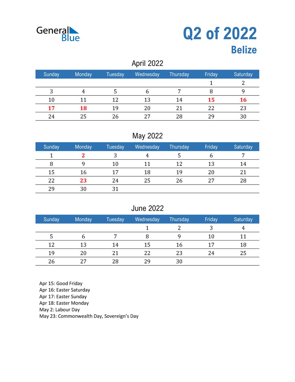 Belize 2022 Quarterly Calendar