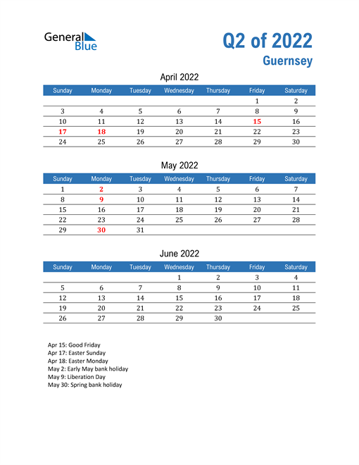 Guernsey 2022 Quarterly Calendar