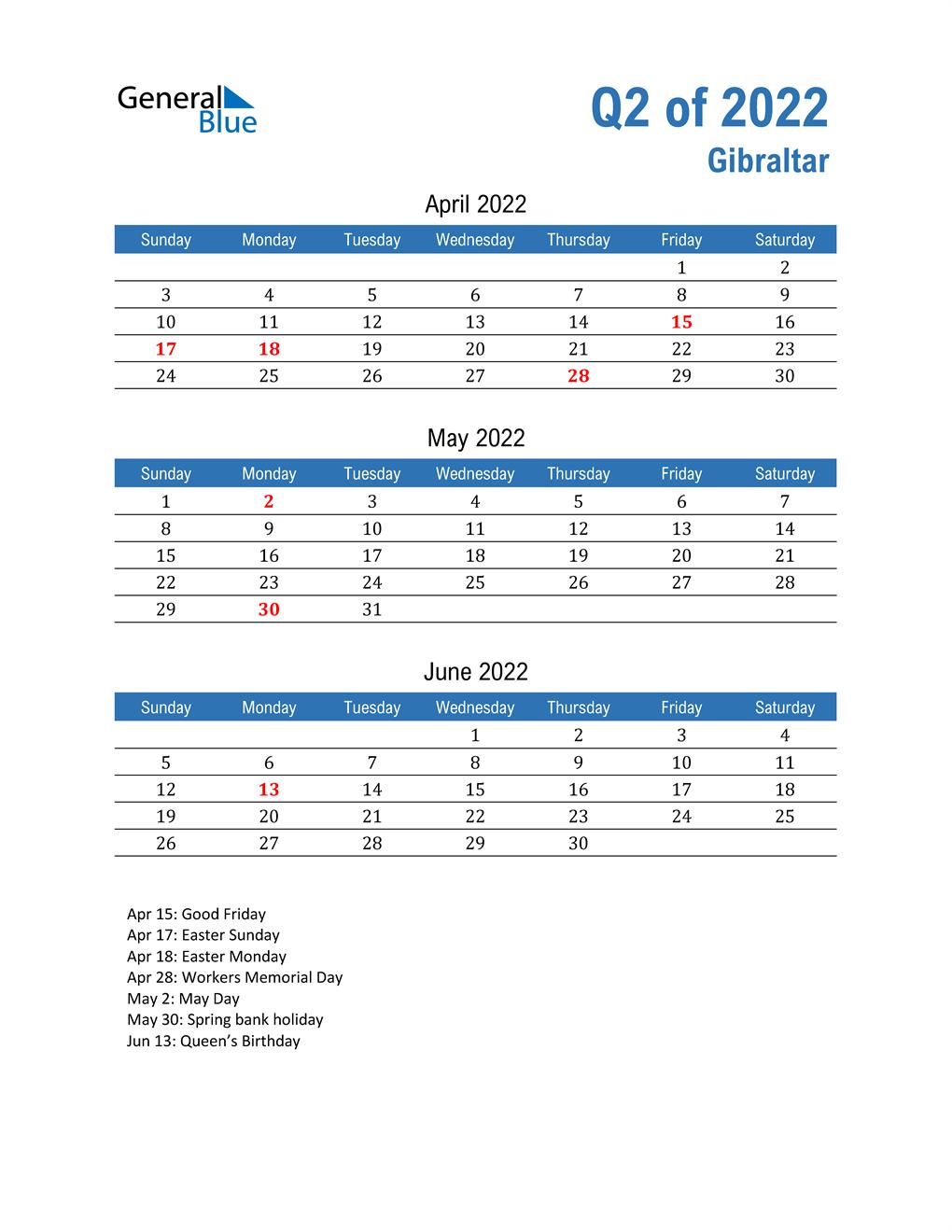 Gibraltar 2022 Quarterly Calendar