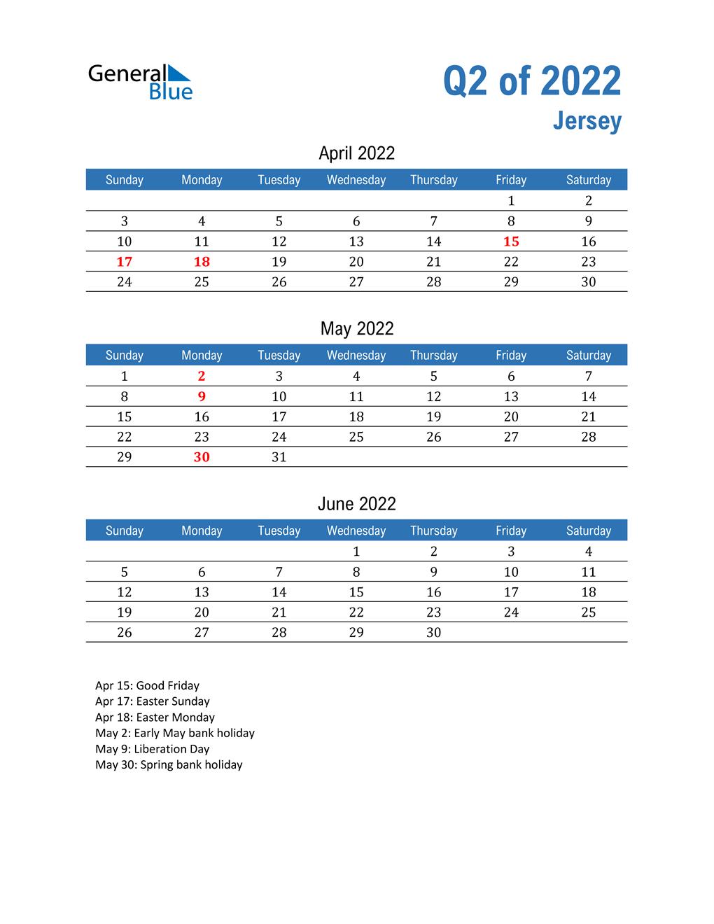 Jersey 2022 Quarterly Calendar