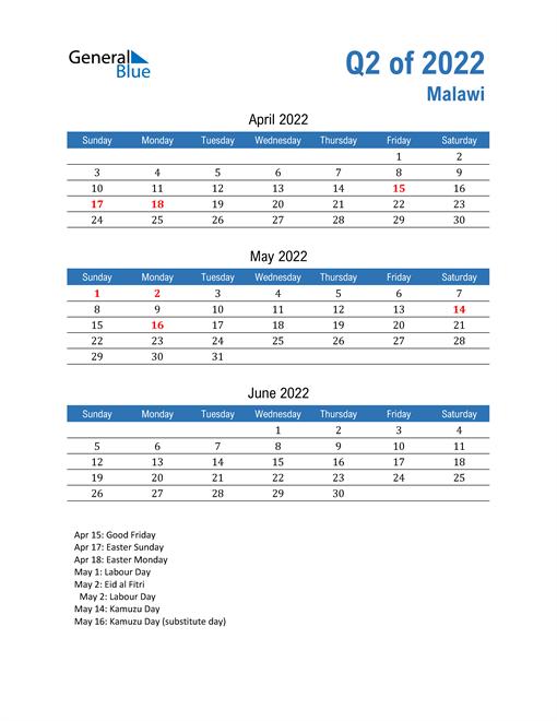 Malawi 2022 Quarterly Calendar