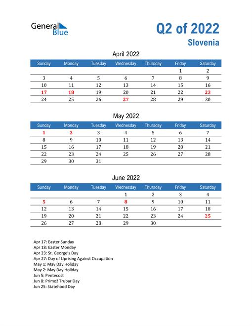 Slovenia 2022 Quarterly Calendar