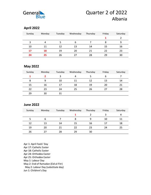 2022 Three-Month Calendar for Albania