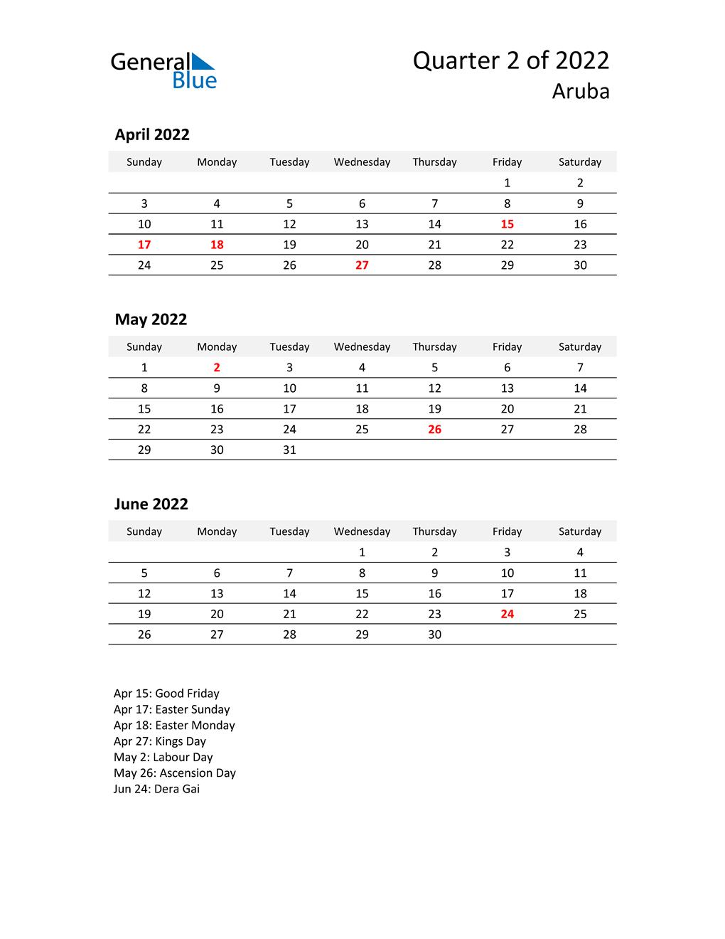 2022 Three-Month Calendar for Aruba