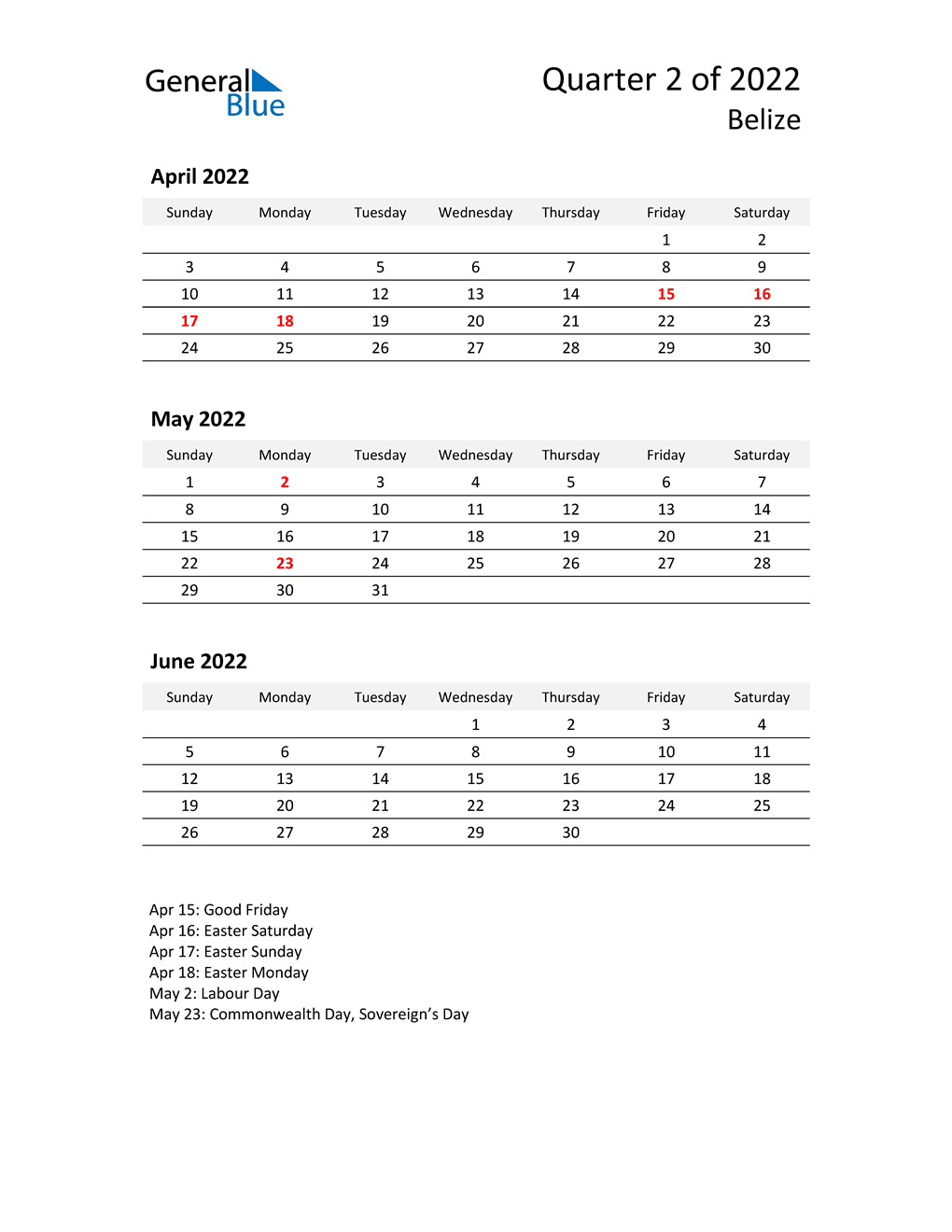 2022 Three-Month Calendar for Belize