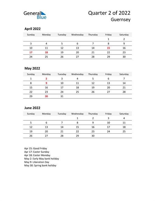 2022 Three-Month Calendar for Guernsey