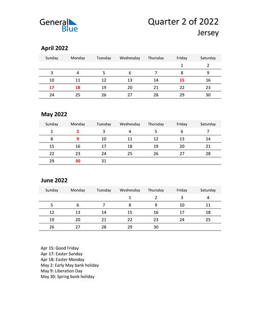 2022 Three-Month Calendar for Jersey
