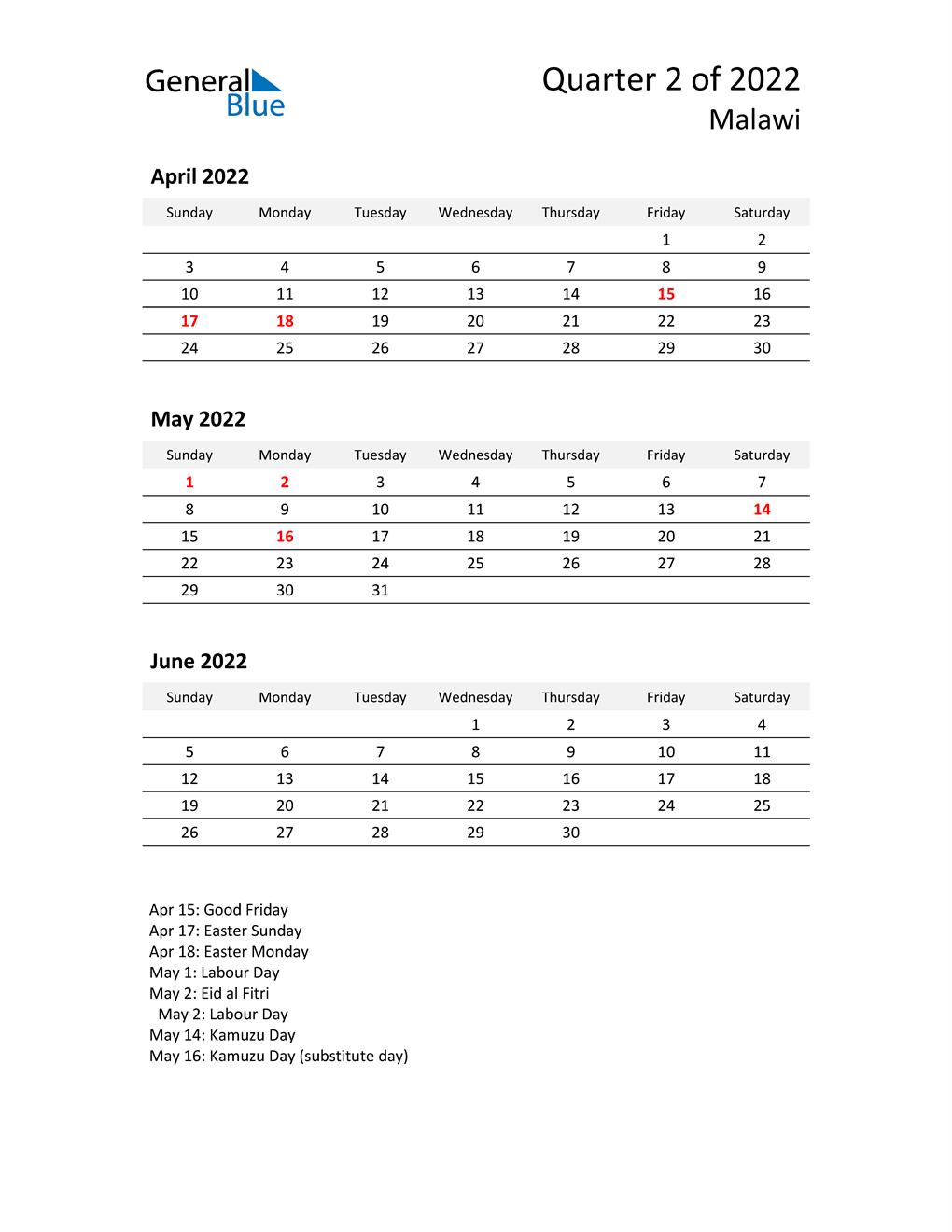 2022 Three-Month Calendar for Malawi