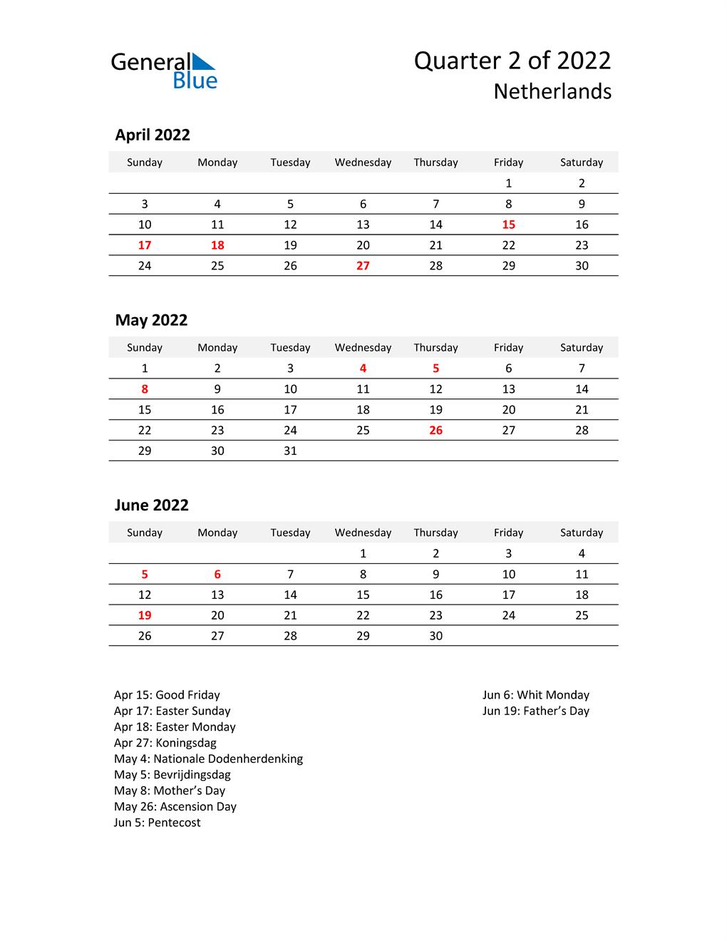 2022 Three-Month Calendar for Netherlands