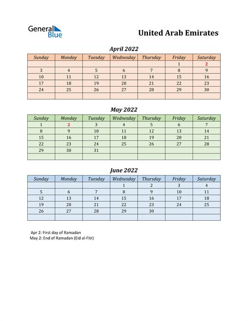 Q2 2022 Holiday Calendar - United Arab Emirates