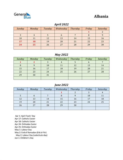 Q2 2022 Holiday Calendar - Albania