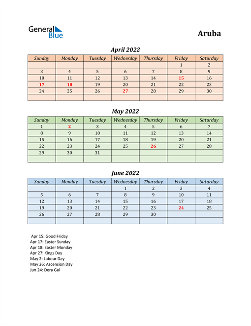 Q2 2022 Holiday Calendar - Aruba