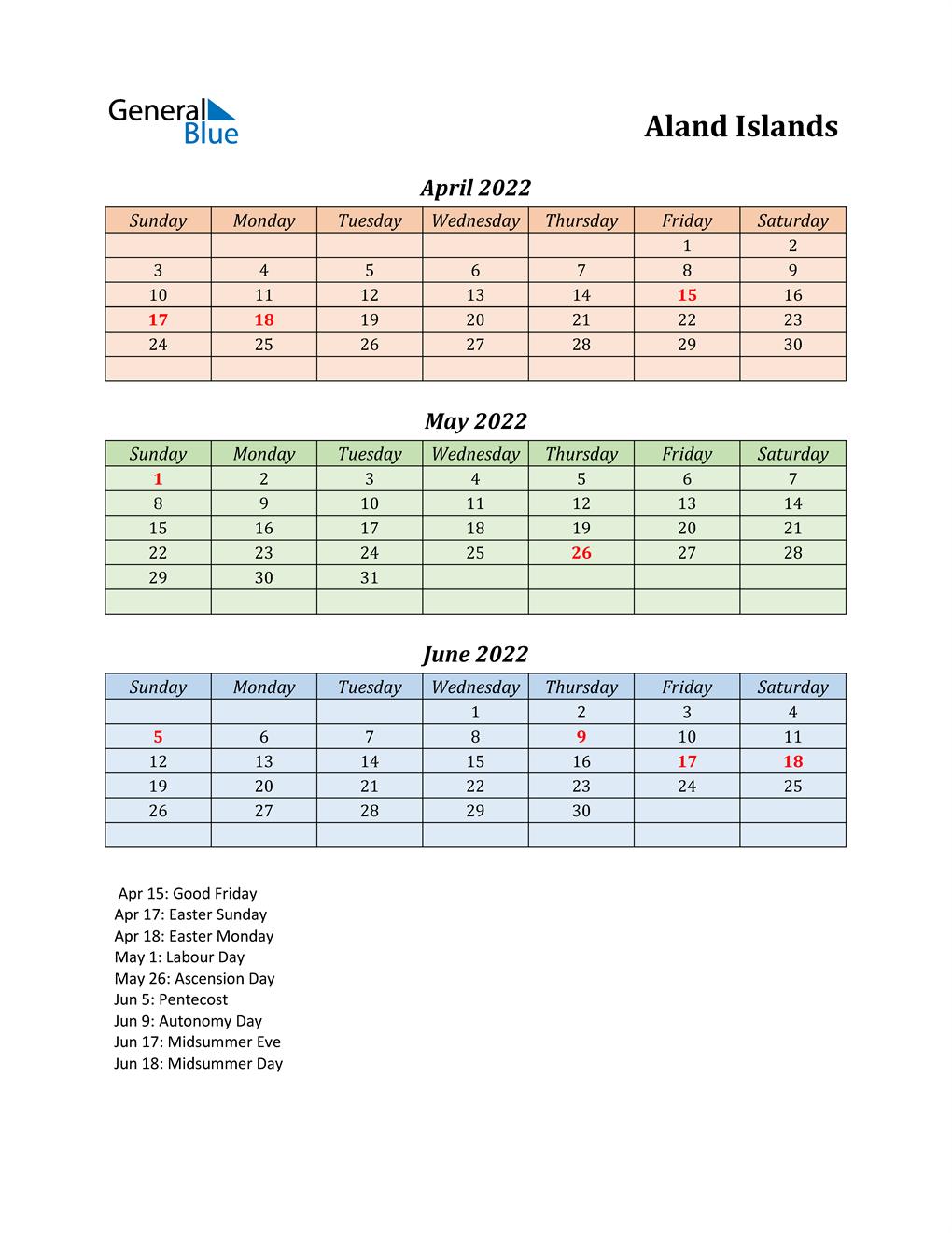 Q2 2022 Holiday Calendar - Aland Islands