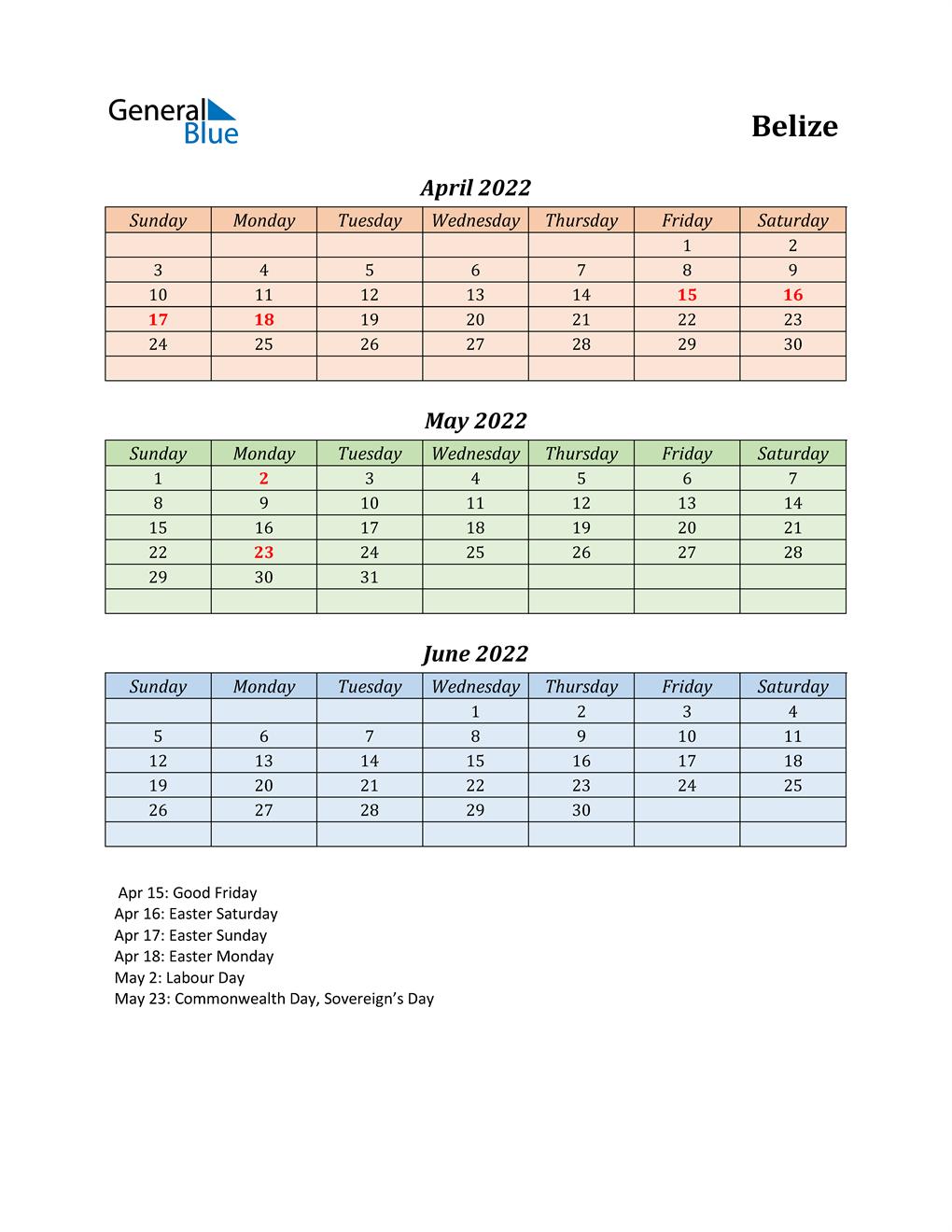 Q2 2022 Holiday Calendar - Belize