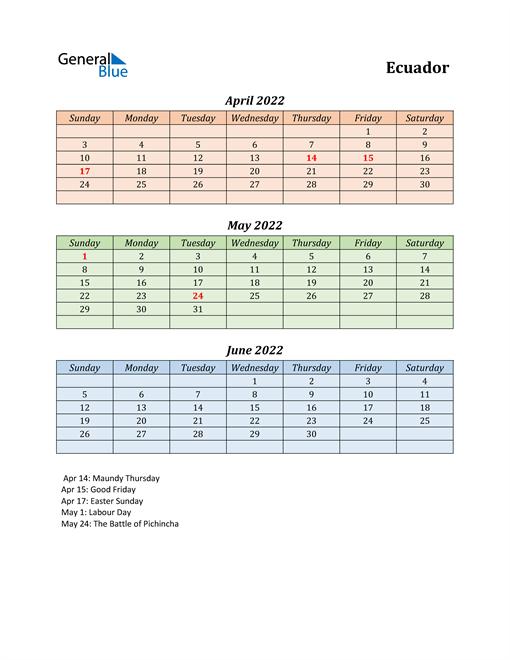 Q2 2022 Holiday Calendar - Ecuador