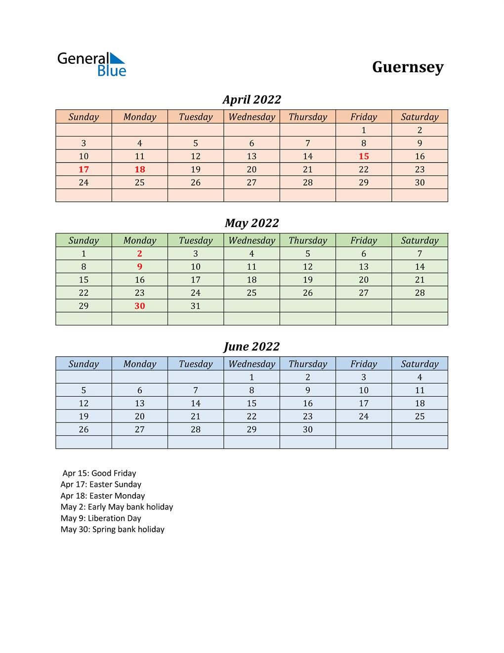Q2 2022 Holiday Calendar - Guernsey