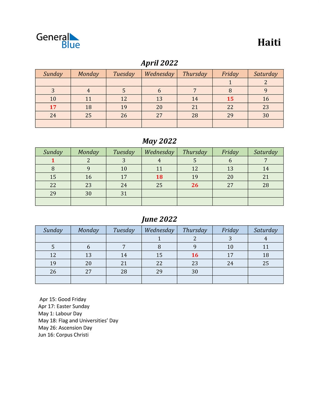 Q2 2022 Holiday Calendar - Haiti