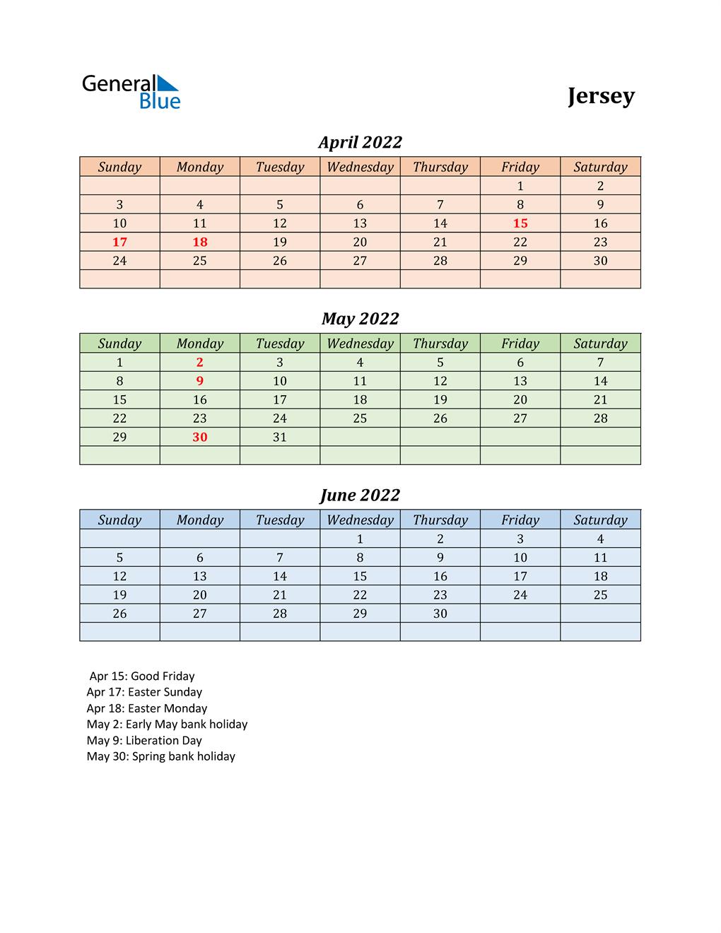 Q2 2022 Holiday Calendar - Jersey