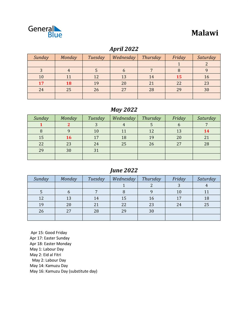 Q2 2022 Holiday Calendar - Malawi