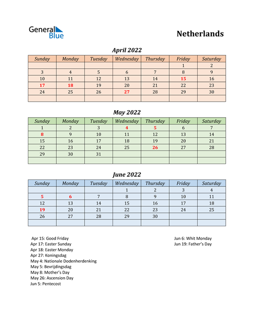 Q2 2022 Holiday Calendar - Netherlands