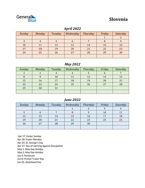 Q2 2022 Holiday Calendar - Slovenia
