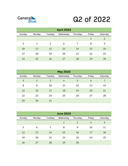 Printable Quarterly Calendar (Q2 2022)