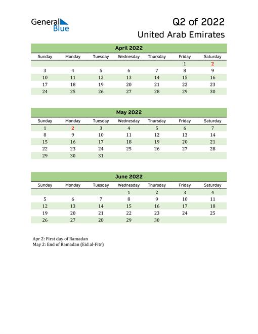 Quarterly Calendar 2022 with United Arab Emirates Holidays