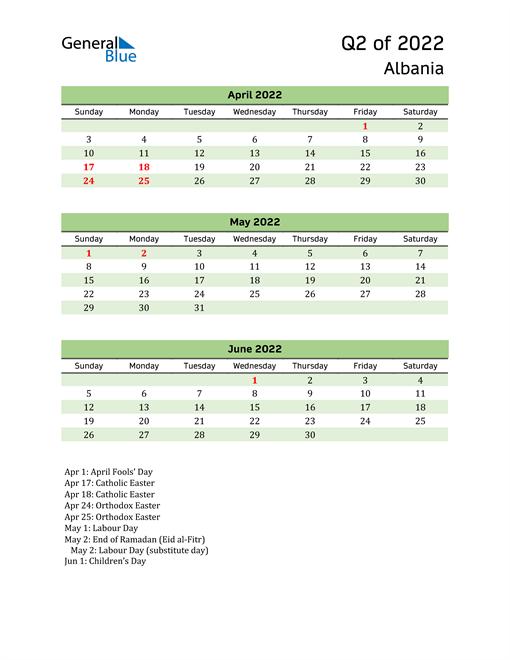 Quarterly Calendar 2022 with Albania Holidays