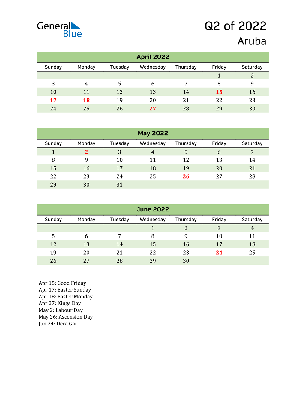 Quarterly Calendar 2022 with Aruba Holidays