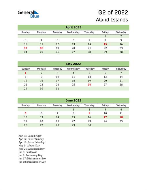 Quarterly Calendar 2022 with Aland Islands Holidays
