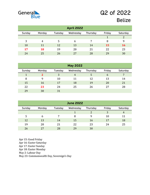 Quarterly Calendar 2022 with Belize Holidays