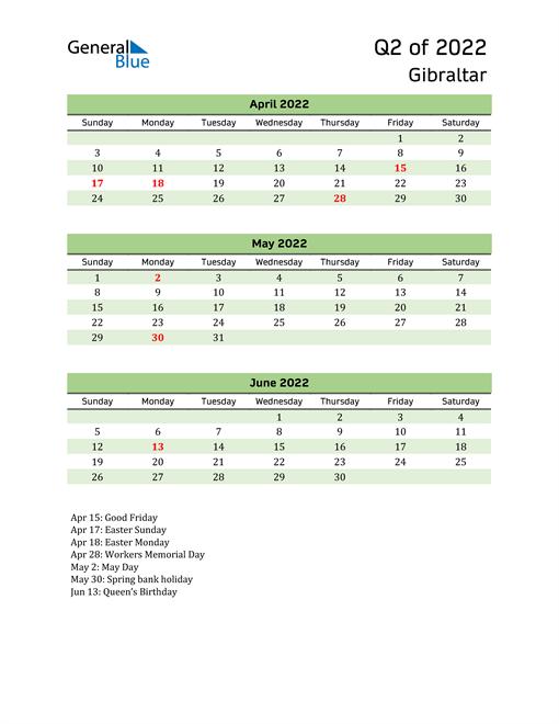 Quarterly Calendar 2022 with Gibraltar Holidays