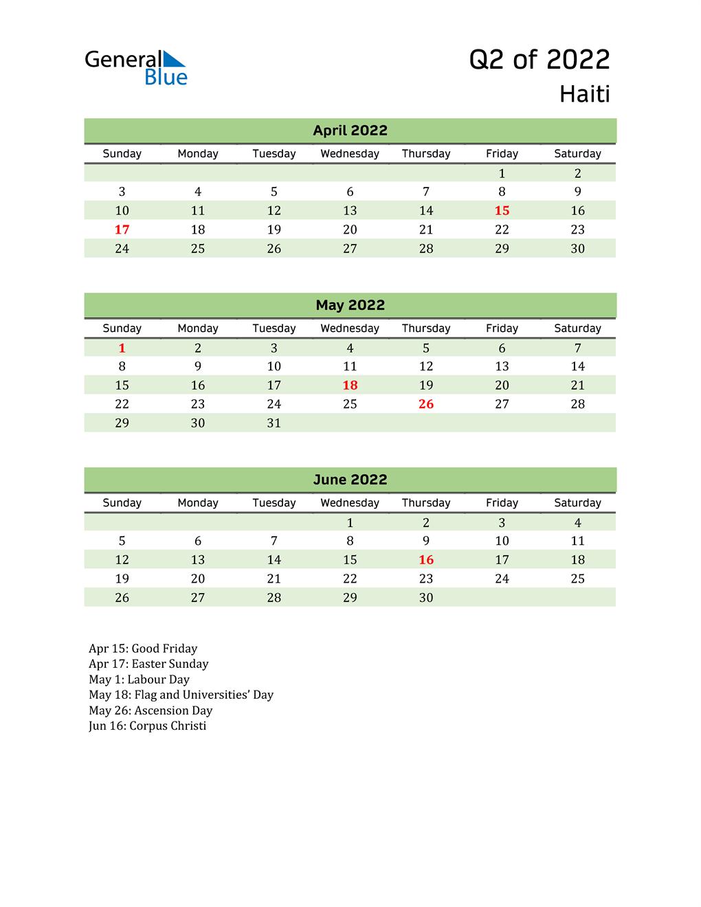 Quarterly Calendar 2022 with Haiti Holidays
