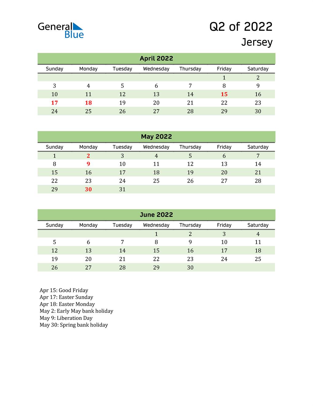 Quarterly Calendar 2022 with Jersey Holidays