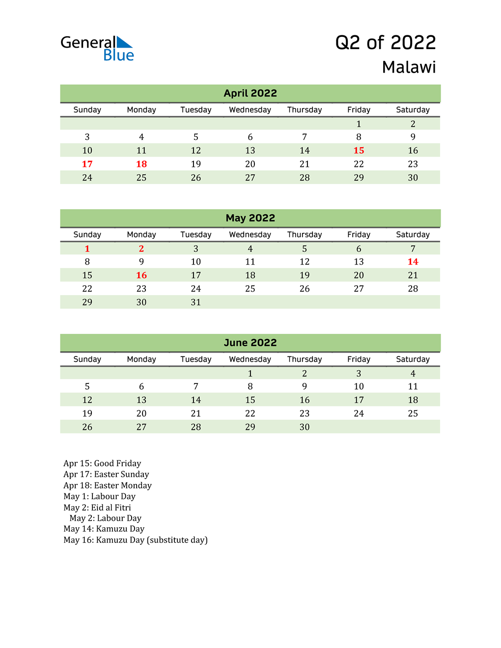Quarterly Calendar 2022 with Malawi Holidays