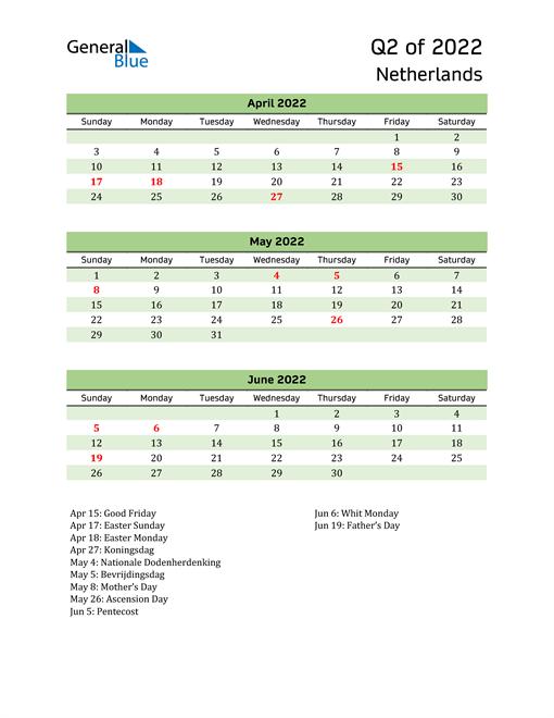 Quarterly Calendar 2022 with Netherlands Holidays