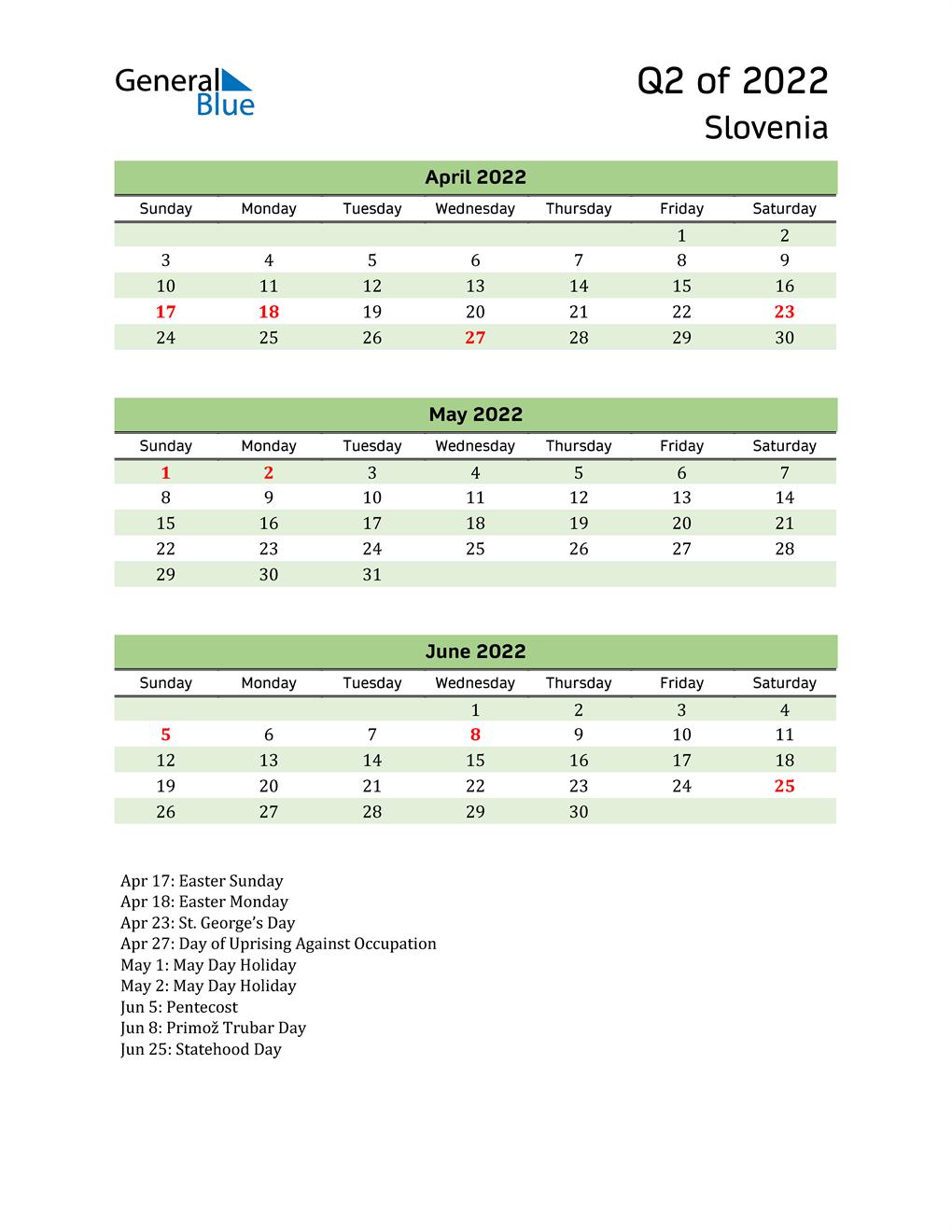Quarterly Calendar 2022 with Slovenia Holidays