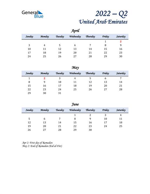 April, May, and June Calendar for United Arab Emirates