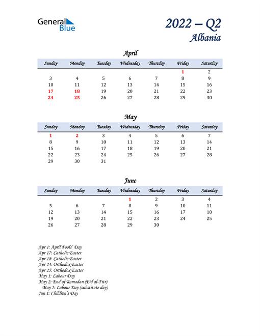 April, May, and June Calendar for Albania