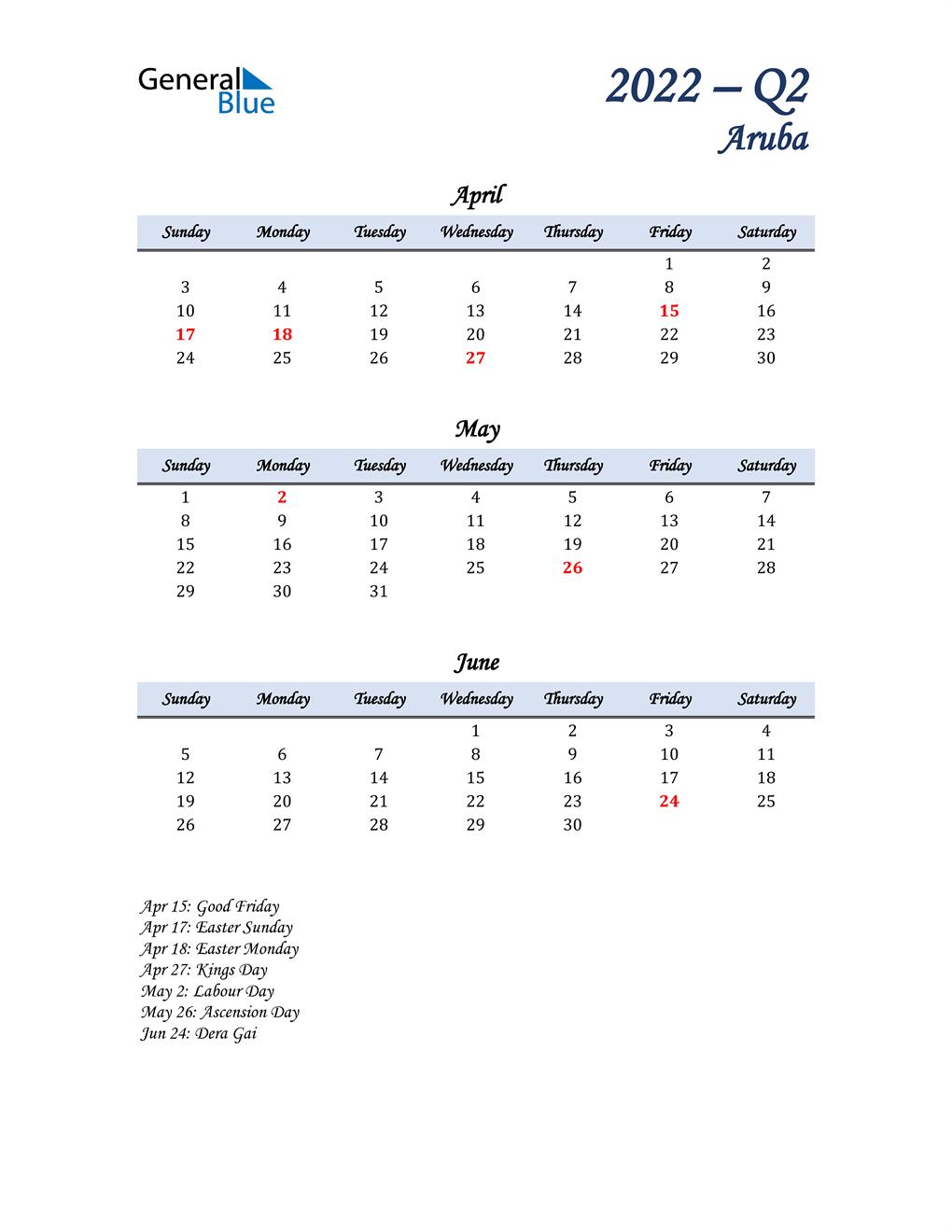 April, May, and June Calendar for Aruba