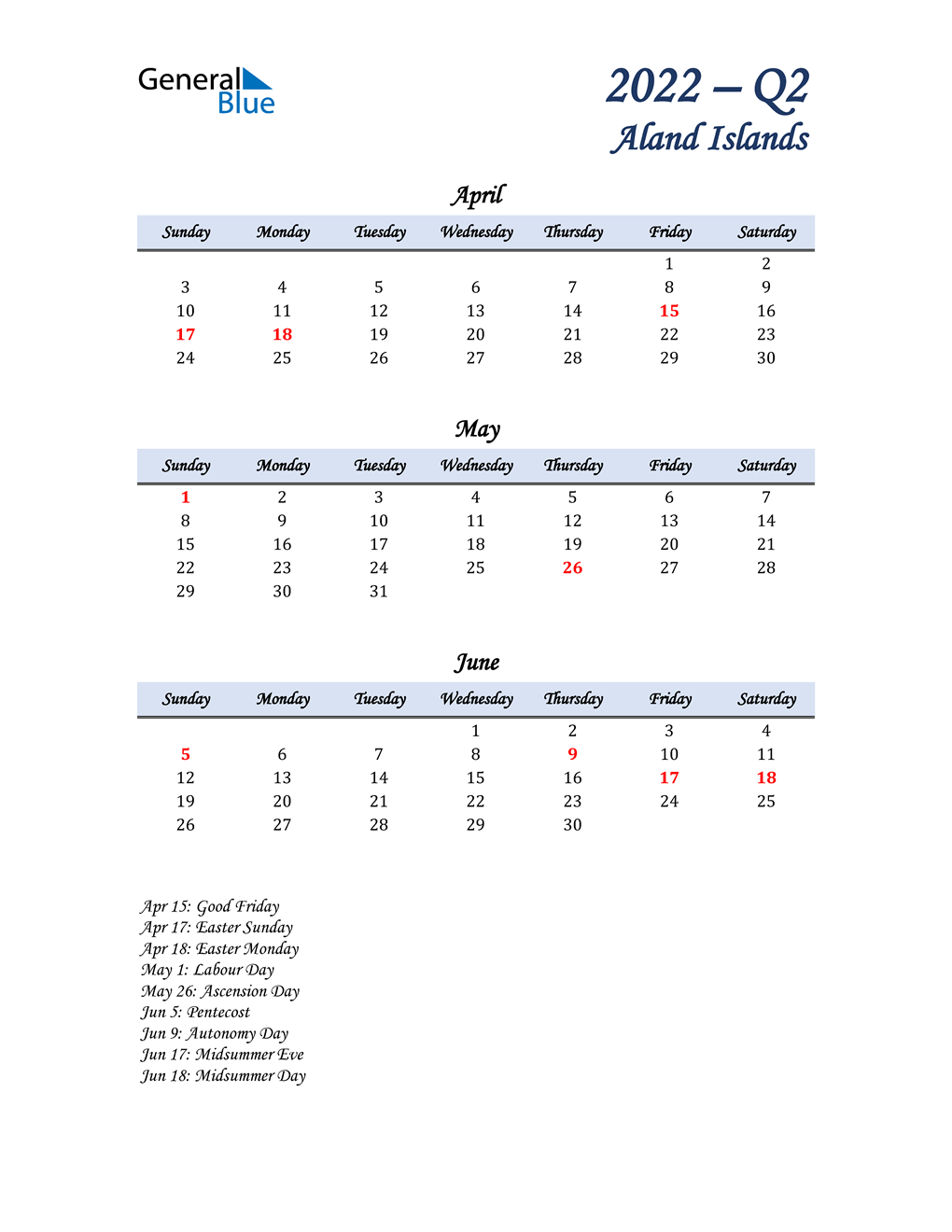 April, May, and June Calendar for Aland Islands
