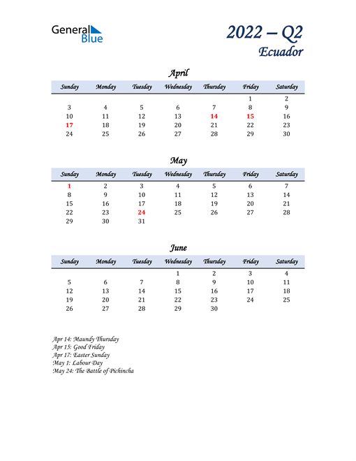April, May, and June Calendar for Ecuador