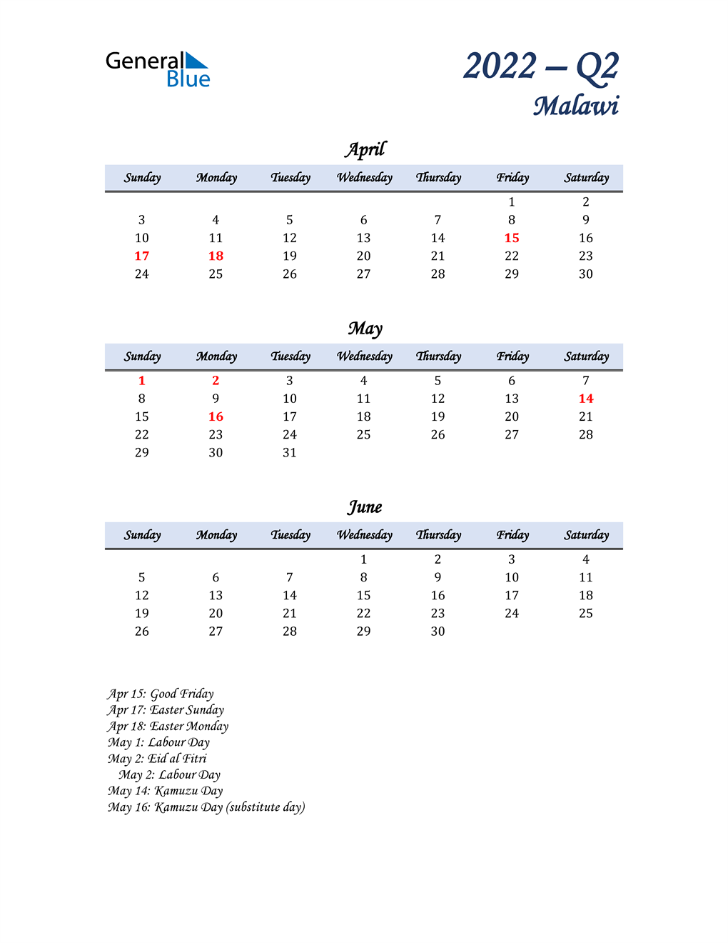April, May, and June Calendar for Malawi
