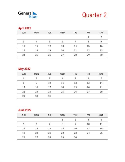 Three-Month Printable Calendar 2022