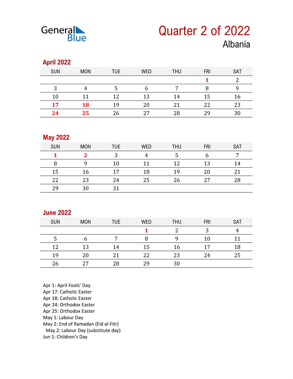 Printable Three Month Calendar for Albania