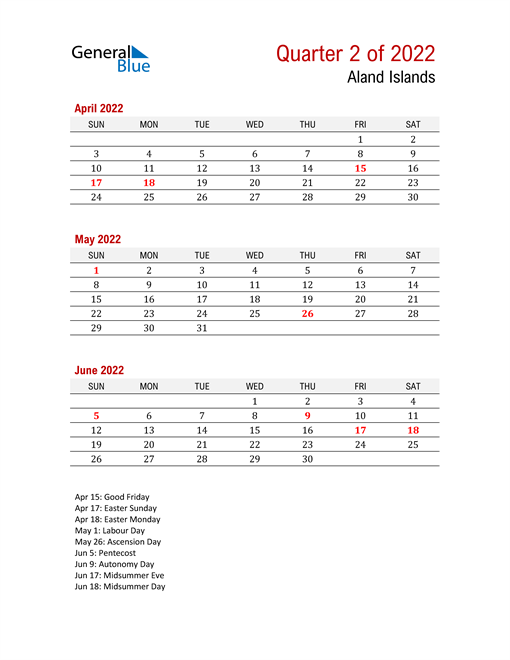Printable Three Month Calendar for Aland Islands