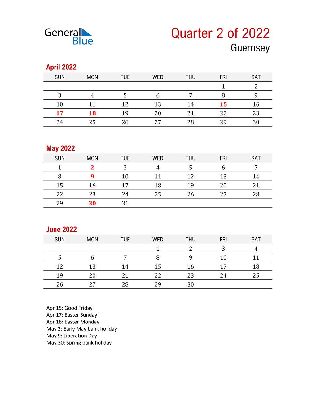 Printable Three Month Calendar for Guernsey